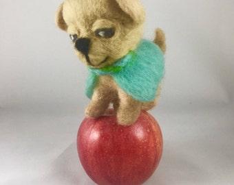 Needle Felted Dog Animal Sculpture Toy Dog Fiber Arts Felting Gifts Gift under 25