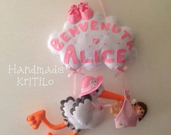 Stitchable nuvoletta with Stork and baby Handmade KriTiLo