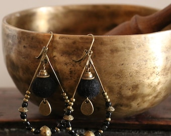 Black ethnic earrings