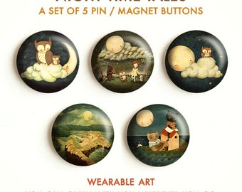 Night Time Tales - Pinback Button Set, Magnets, Pinbacks, Pins, Set of 5 Magnets / Pins, Owl, Hedgehog, Bear, Moon, Mermaid, Cute, Animals