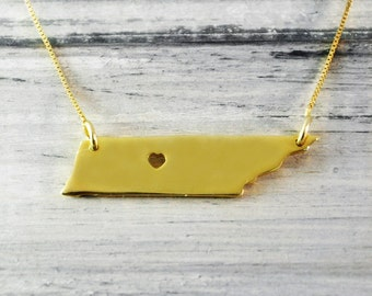 I  heart Tennessee Necklace Tennessee pendant 18K gold plated state necklace hammered state necklace Mothers Necklace