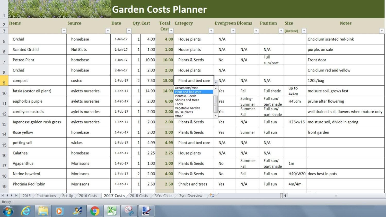 Jardín jardinería costos planificador Excel plantilla, jardín hoja ...