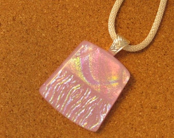 Pink Dichroic Pendant - Dichroic Jewelry - Fused Glass Pendant - Fused Glass Jewelry - Valentines Jewelry - Dichroic Necklace - Glass