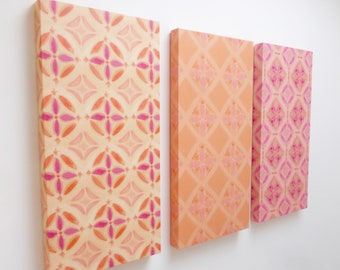 Orange & pink wall art / canvas art trio / set of three / hand painted tile designs