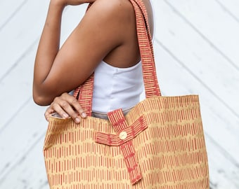 Red and Gold Tote Shopping Bag with Gold Bars on Red Contrast Fabric