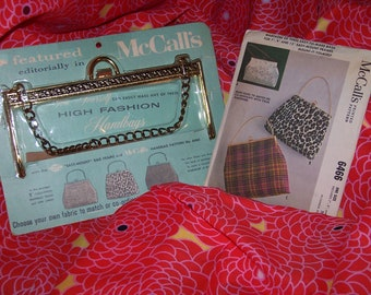 Vintage 1950's MaCall's 6466 Purse Sewing Pattern & Frame Lot