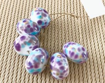 2+ Blue purple white glass lampwork multicolour bead - Handmade Lampwork beads - organic lampwork focal bead - Artisan glass beads