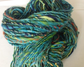 Handspun Yarn, Art Yarn, Blue, Green