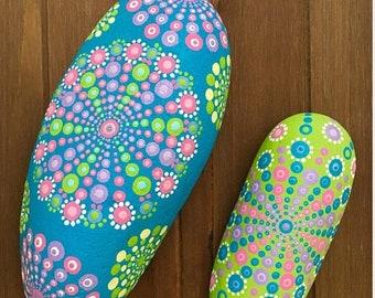 MomsDay Two long candy-colored mandala rocks
