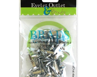 Silver Brads 8mm - Small Silver Brads - Silver Brads - Decorative Brads - Decorative Silver Brads - Silver Scrapbook Brads - 12-032