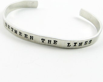 Librarian Jewelry (Read Between the Lines Cuff Bracelet, Bibliophile Gift)