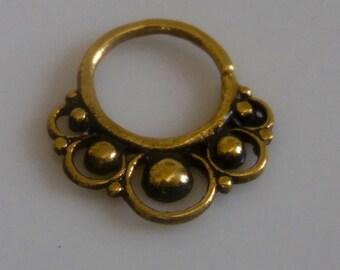Brass Septum Ring - 16G Septum Ring - Indian Septum Ring - Septum Jewelry - Septum Piercing - Tribal Septum Ring - Indian Septum Ring (B51)