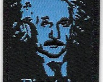 Albert Einstein Embroidered Patch / Iron On Applique, Artwork by Dave Cherry, Theory of Relativity, Physicist, Genius