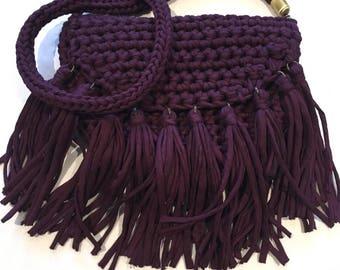 Handmade Boho Bag, Fringed, Casual, Crocheted Funky Handbag