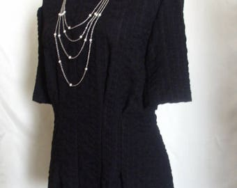 Black Textured Lace Blouse