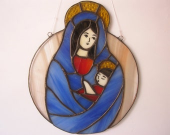 Stained Glass Madonna and Child Suncatcher Roud Window panel Icon Art glass