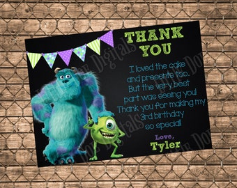 Personalized Monsters Inc. Thank You Card - Digital File or Printed Copies - Thank You Cards - 5x7 or 4x6 -- MI-STYLE2