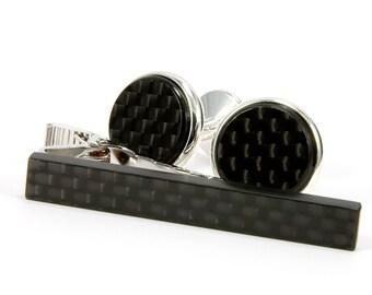 Carbon Fiber Cufflinks, Carbon Fiber Cufflink Tie Clip Set Gift For Men, Silver Cufflink Tie Bar Set Gift For Him, Carbon Fib