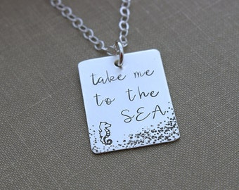 take me to the SEA - 925 sterling silver necklace with textured design and seahorse - hand stamped rectangle - Beach Jewelry