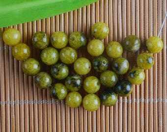 30 yellow AGATE beads 6 mm 2186