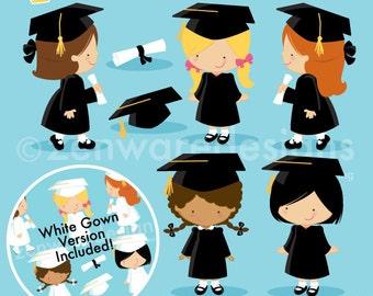 Graduation Girls Clipart
