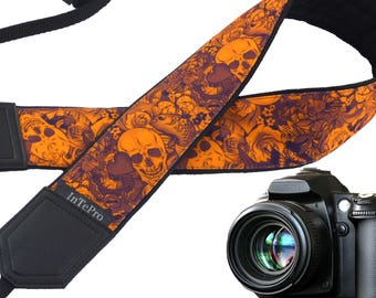 Orange sugar skulls camera strap. Scary camera strap. DSLR / SLR Camera Strap. Camera accessories for creative people