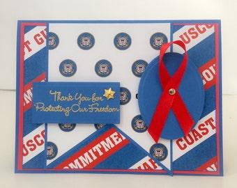 Handmade Patriotic Card, Veterans Day, Coast Guard, Veterans Day Card, Thank You, Military Card, Armed Forces, United States Coast Guard