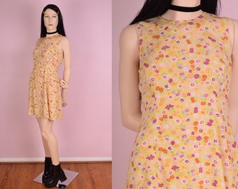 90s Floral Print Dress/ Small/ 1990s/ Tank/ Sleeveless