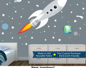 Rocket Wall Stickers, Space Wall Stickers, Kids Rocket Decal (WHITE Sk Rocket with Planets) SKR