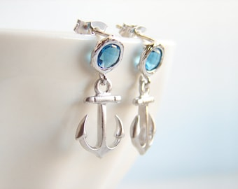 Anchor Earrings. Matte Silver Anchor with Faceted Blue Sapphire. Drop Dangle Earrings. Simple Modern Jewelry by
