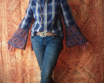 Womens plaid shirt, navy blue, medium, Boho top, country chic, bell sleeves, button down, boyfriend shirt, Upcycled  clothes, fall shirt