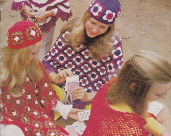 ON SALE Patons - Ponchos and Shawls Pattern -  Vintage 1970s - Crochet and Knitted Pattern Book No 967
