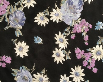 Purple Floral Rayon Georgette Fabric by the Yard, Rayon Yardage, Fabric by the Yard, Rayon Georgette