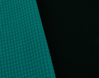 Black/Turquoise Waterproof Stretch Soft Shell Grid Fleece, Fabric By The Yard