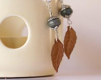 Soft Ocean Blue Gemstone and Chocolate Brown Dangling Leaf Earrings