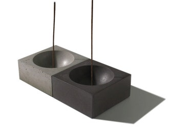 Large Cubed3 / Concrete Square Incense Burner/ Incense holder/ Minimalist Home Decor