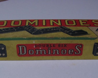 Vintage Halsam Double Six Dominoes Set no. 623-W. Wooden. Woolworth Building NYC  (R37)