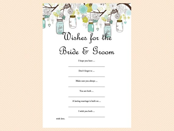 Wishes For The Bride And Groom Advice Card Mason Jars Bridal