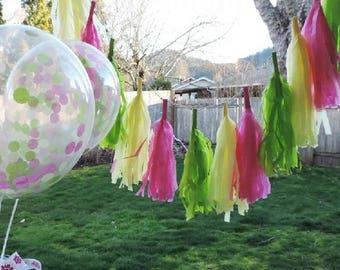 Tissue Paper Tassels, Tassel Garland, Custom Banner Garland Choose your own colors Wedding Photo Backdrop, Bridal Shower Decor, Bachelorette