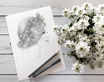 Spring - girl with flowers in the hair - original handmade drawing