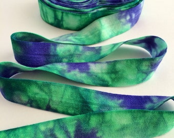 """5/8"""" Tie Dye Fold Over Elastic - Emerald Violet White - Hair Accessory Supplies"""