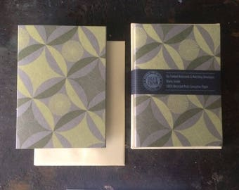 6 Robbing Peter Letterpress Notecard - Lemon and Olive on Gray