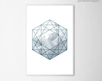 Printable Geometric Art, Sacred Geometry Poster, Scandinavian Print, Water Print, Hexagon Poster, Minimalist Poster, Instant Download