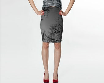 Trees and Sky - Black Gray - Fitted Skirt - Pencil Skirt - Knee Skirt - Small Medium Large Extra Large, XS S M L XL - Women's Skirt Clothing