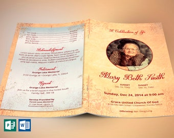Victorian Funeral Program Publisher Word Template