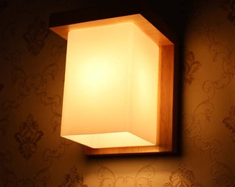 Wall lights etsy ash wood and glass wall lights hallway lamp decor lamp wooden lamp aloadofball Images