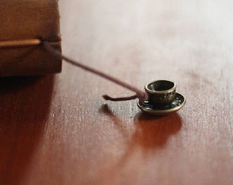 Cup pendant-coffee tea drink, antique, bronze, vintage inspired