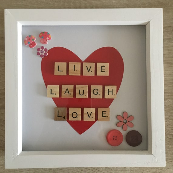 Handmade box art frame Live laugh love
