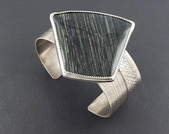 Zebra Jasper Cuff, zebra stone bracelet, cuff bracelet, sterling silver, wide cuff bracelet, black and silver, sterling silver, large cuff