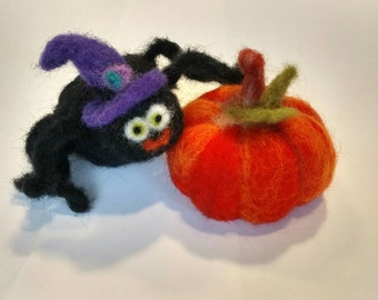 Wool Felted Spider and Pumpkin Set
